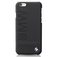 Накладка BMW для iPhone 6/6S Logo Imprint Hard Leather Black (BMHCP6LLSB)