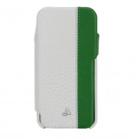 Кожаный чехол для iPhone 5/5S Vaja Agenda LP Leather Cases (White and Vibrant Green)