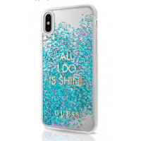 Накладка Guess для iPhone X Glitter Collection - Shine (GUHCP8GLUQBL), голубой