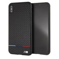 Чехол BMW для iPhone XS Max M-Collection Carbon inspiration Hard PU Tricolor (BMHCI65PUCARTCBK), черный