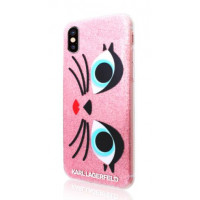 Накладка Karl Lagerfeld для iPhone X DOUBLE LAYER - Glam Choupette (KLHCP8GLCHPI), розовый
