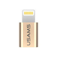 Адаптер USAMS US-SJ014 Lightning to Micro USB, золото